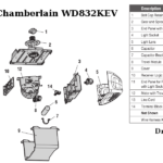 chamberlain wd832kev garage door opener parts
