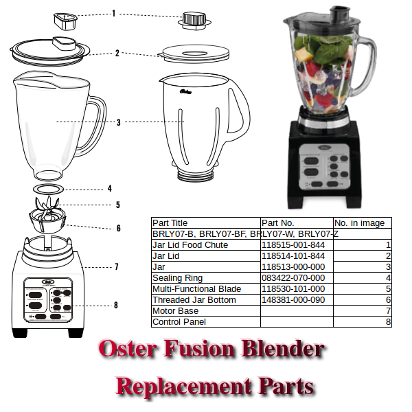 Oster Fusion Blender Replacement Parts