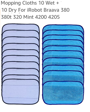 Reusable and washable Mopping Cloths 10 Wet + 10 Dry For iRobot Braava 380 380t 320 Mint 4200 4205