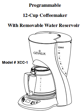 Programmable 12-Cup Coffeemaker With Removable Water Reservoir   XCC-1