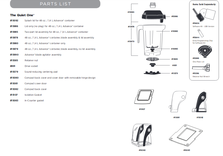 parts list for the vitamix quiet one