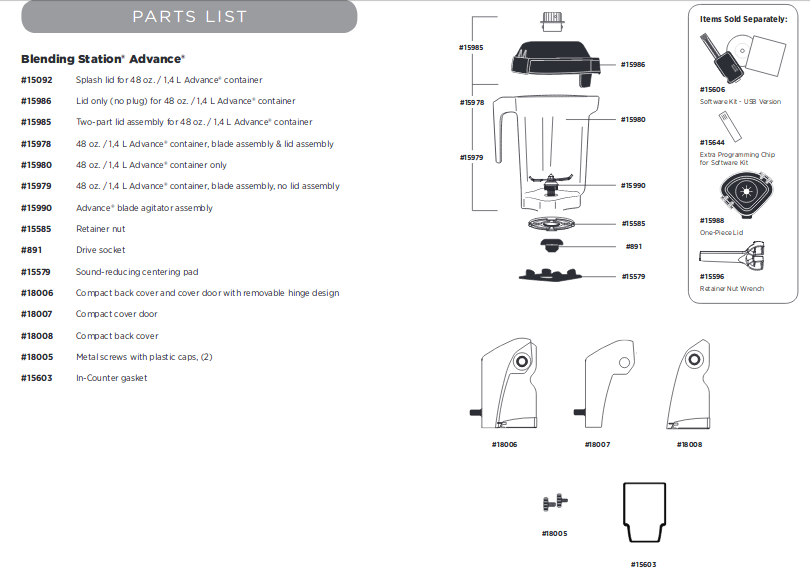 parts list for the vitamix Blending Station Advance