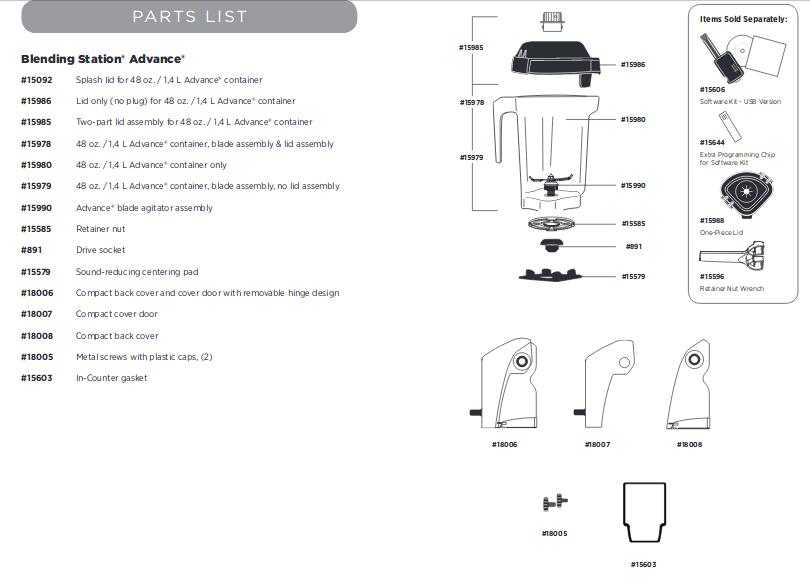 parts list for the vitamix Blending Station Advance