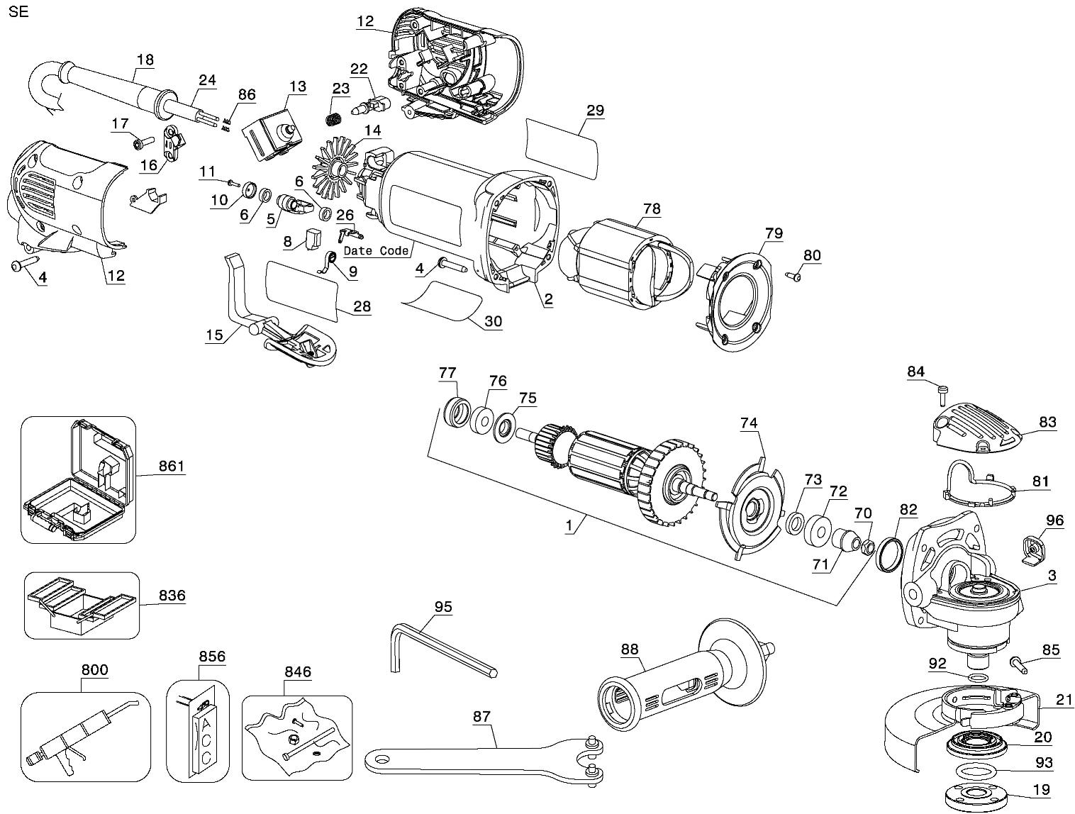 dewalt parts for d28402 grinder