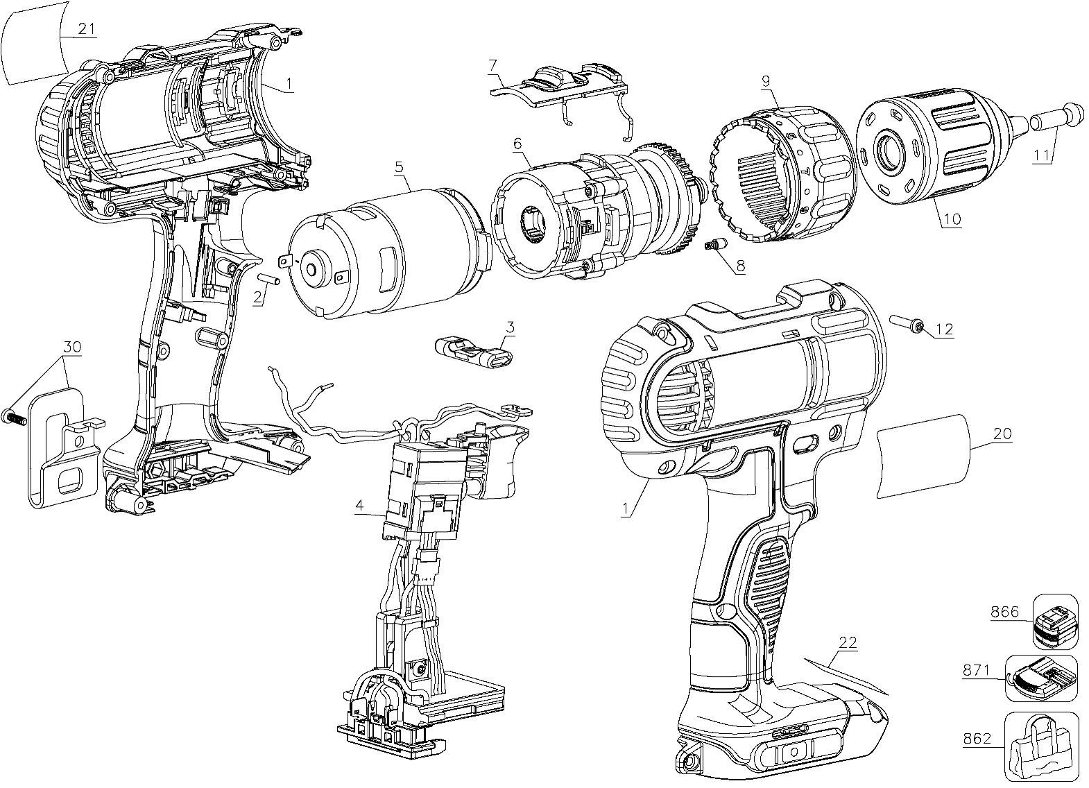 dewalt dcd771c2 parts