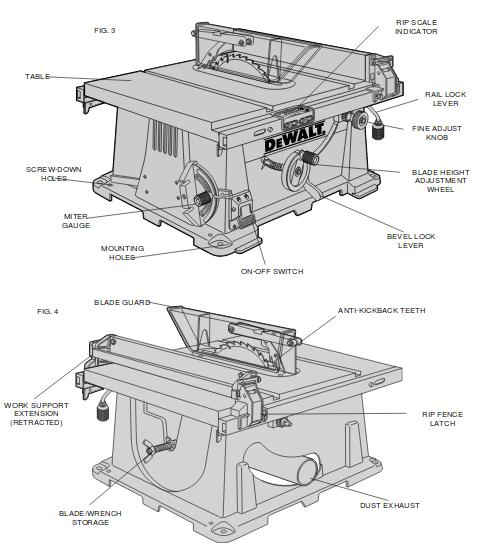 parts for dewalt table saw dw744