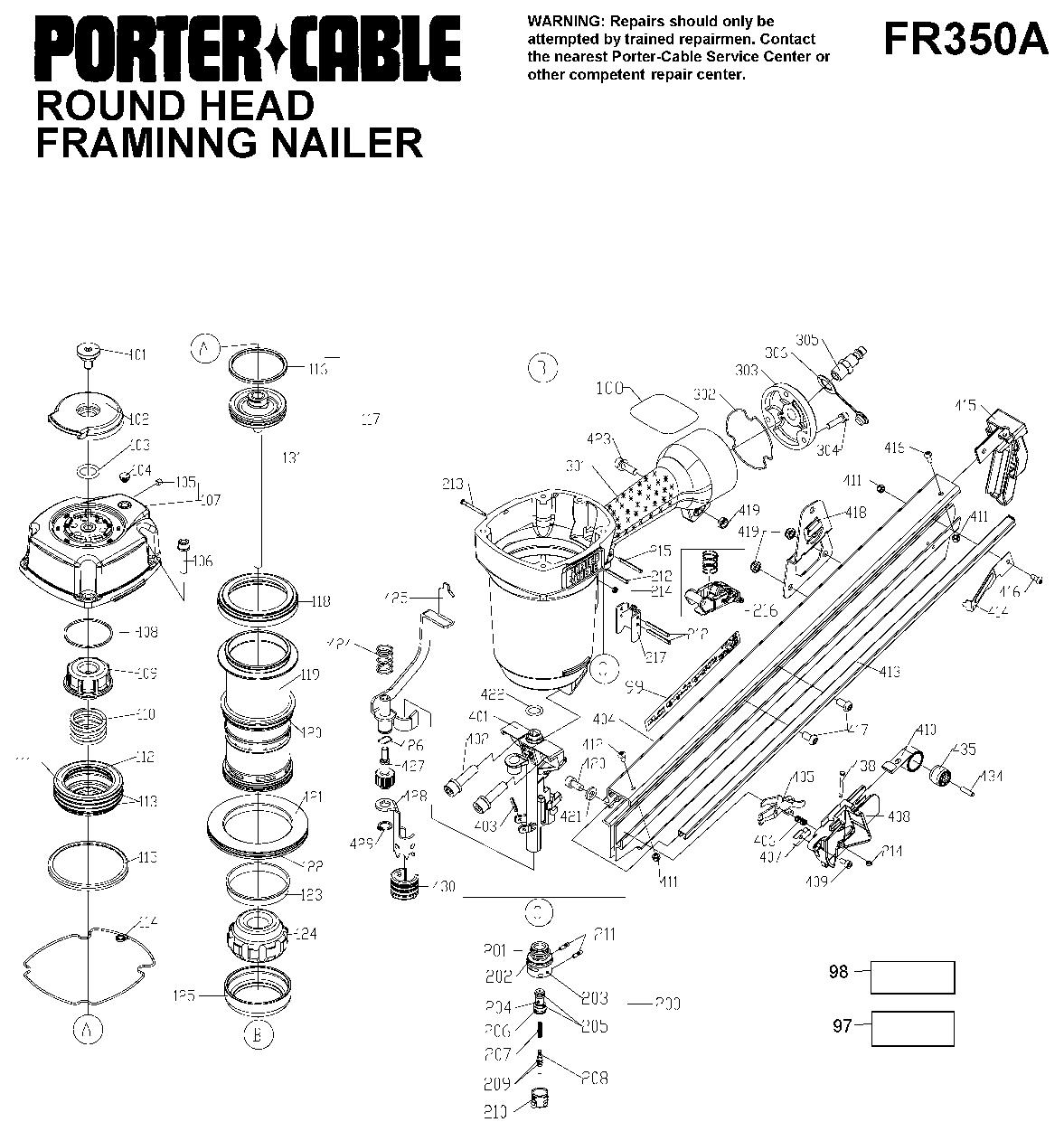 Porter Cable FR350A Parts