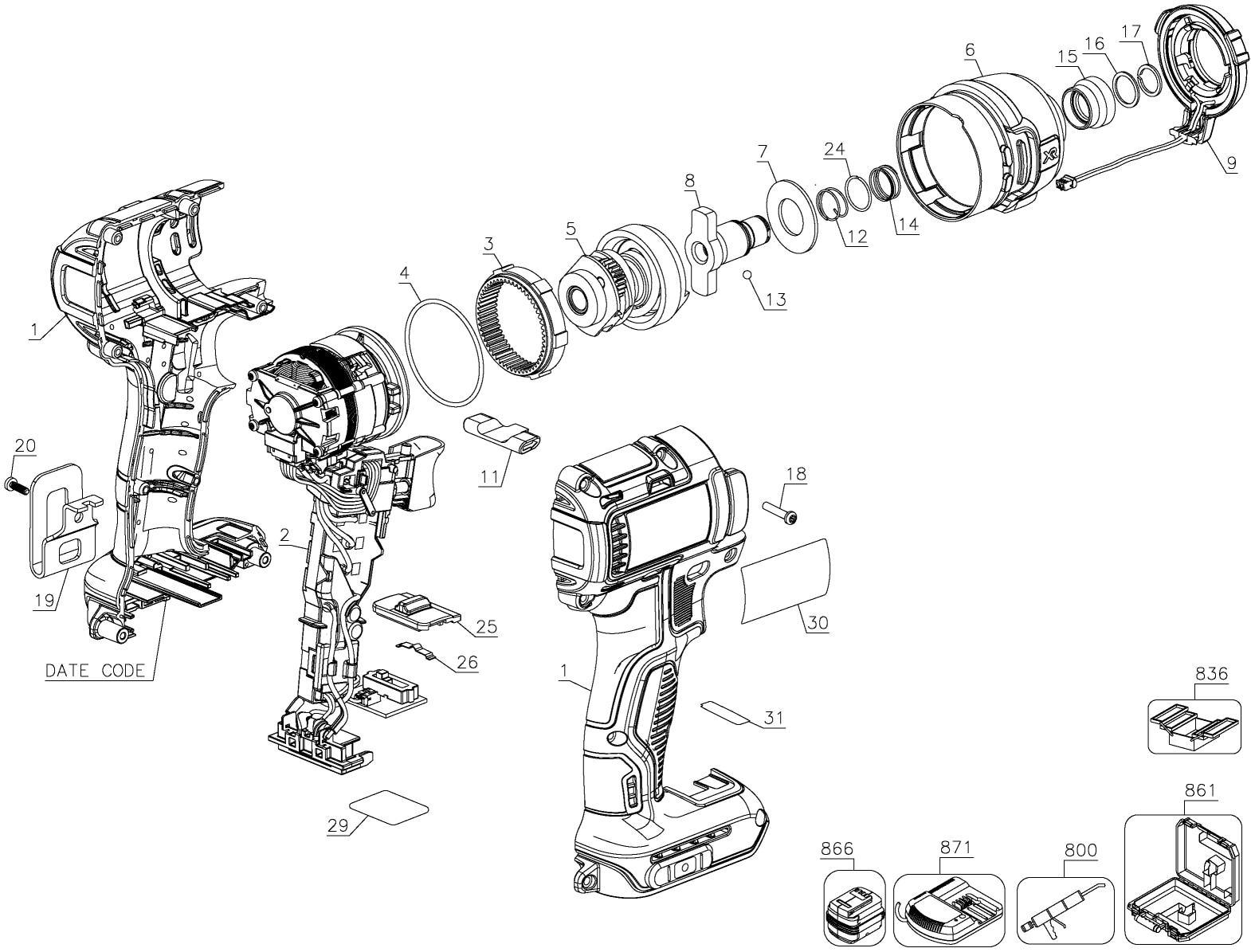 dewalt dcf887b impact driver parts